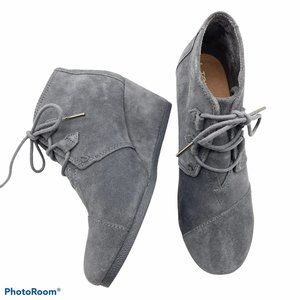 Toms Kala wedge suede booties size 9 grey leather